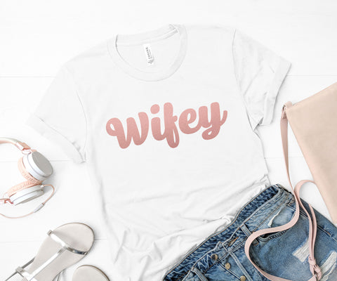 Wifey T-Shirt Gift for Wife Honeymoon Shirt Custom T-Shirt