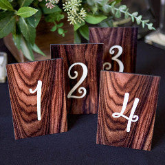 Wood Grain Look Wedding Table Numbers