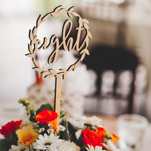 Wreath Floral Table Numbers