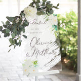 White Paint Wedding Welcome Sign