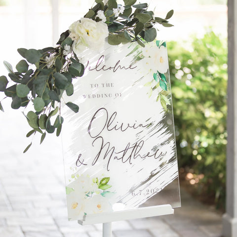 White Paint Wedding Welcome Sign - Wedding Decor Gifts