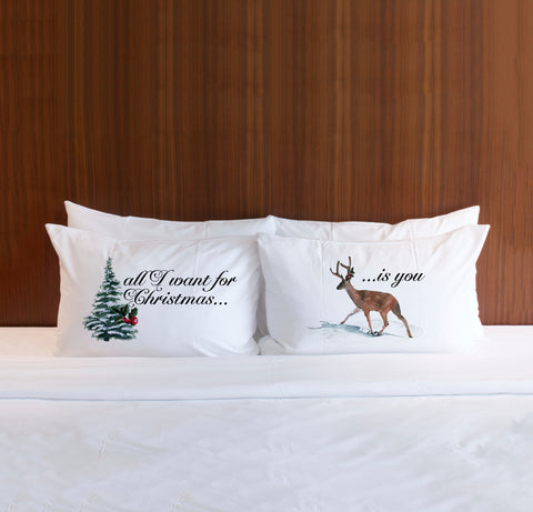 Chrstmas Pillowcases for Couples Holiday Home Decor Pillows for Couple Bedroom Christmas Gift Decor Cute