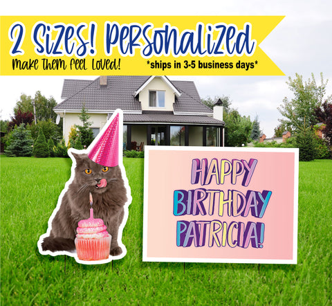 Birthday Yard Signs, Personalized Cat Style, Birthday Yard Signs