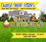 Happy Birthday Yard Signs, Custom Letters, Colorful Birthday Yard Signs