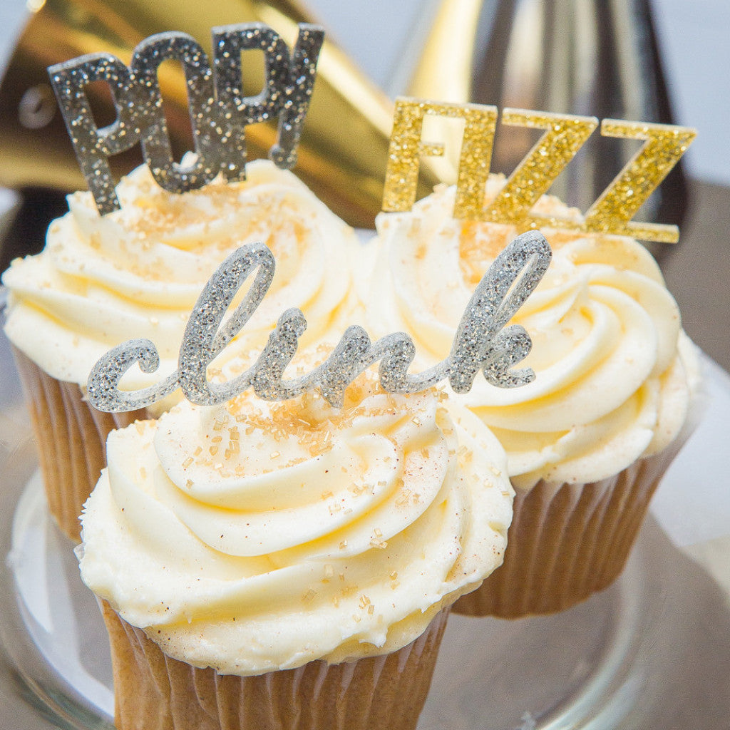 "New Years Cupcake Toppers ""POP! Fizz Clink"" - Wedding Decor Gifts"