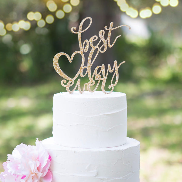 Best Time Of Day For Wedding: Best Day Ever Wedding Cake Topper