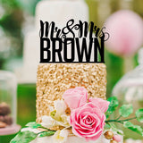 "Personalized Name Cake Topper ""Mr & Mrs"""
