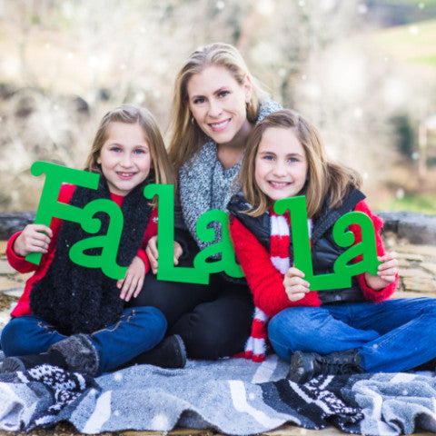"Christmas Sign Family Photo Props ""Fa La La La"" 3 Pieces"