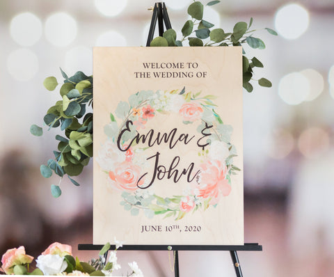 Wedding Welcome Sign Wood Floral Sign - Wedding Decor Gifts