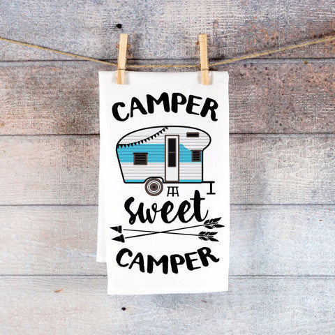 Camping Towel Decor or Cute Kitchen Towel - Wedding and Gifts