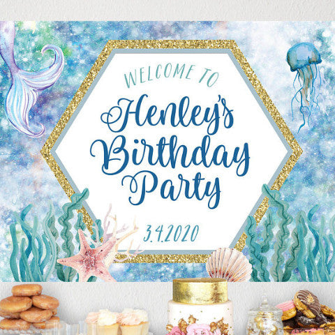 Mermaid Birthday Backdrop - Wedding Decor Gifts