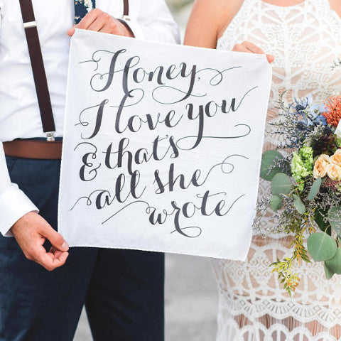 Love Quote Handkerchief - Wedding Decor Gifts