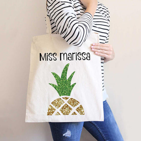 Personalized Pineapple Tote Bag