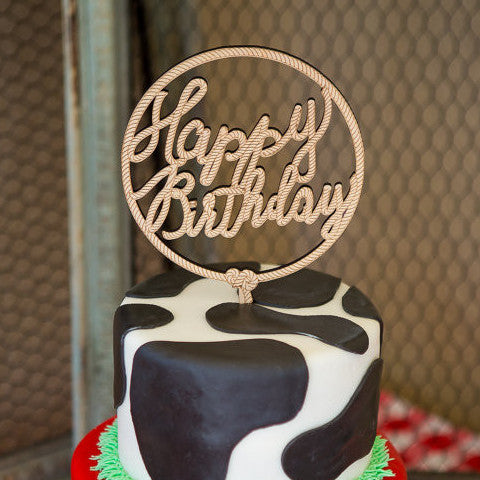 "Western ""Happy Birthday"" Cake Topper - Wedding Decor Gifts"