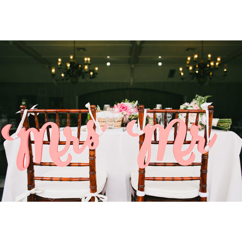 Mr & Mrs Chair Signs Handcrafted for Elegant Weddings – Z Create Design