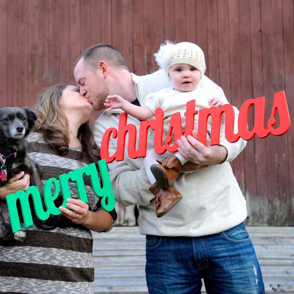 Merry Christmas Holiday Card Portrait Photo Prop - Wedding Decor Gifts