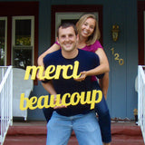 """Merci Beaucoup"" French Thank You Sign Wedding Photo Prop - Wedding Decor Gifts"