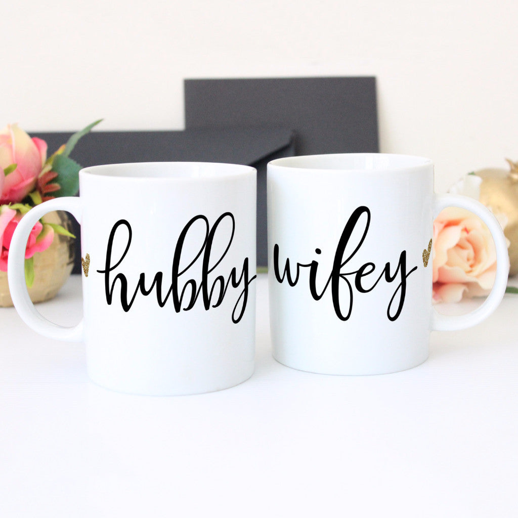 Hubby & Wifey Mug Gift Set for Couples - Wedding Decor Gifts