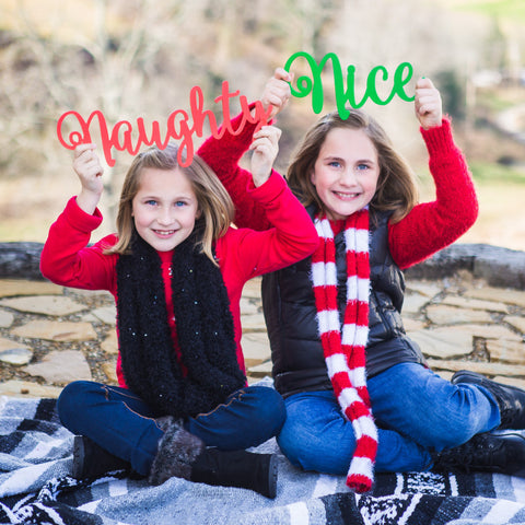 """Naughty"" & ""Nice"" Christmas Sign Photo Props - Wedding and Gifts"