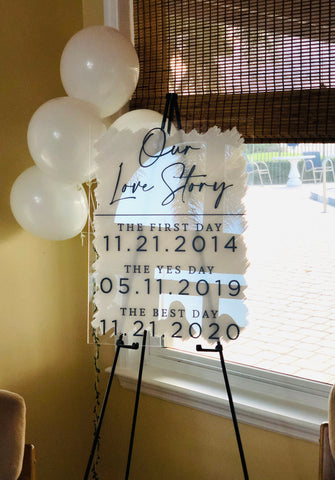 Wedding Dates Sign or Bridal Shower Decor, Acrylic Wedding Sign, Clear Painted Back, Modern Wedding Decor Sign Clear Acrylic
