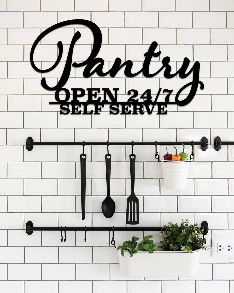 Pantry Sign Home Decor Gift - Wooden Sign for Kitchen Wall Decor Pantry Open 24/7 Self Serve Sign for Newlyweds Wedding Gift