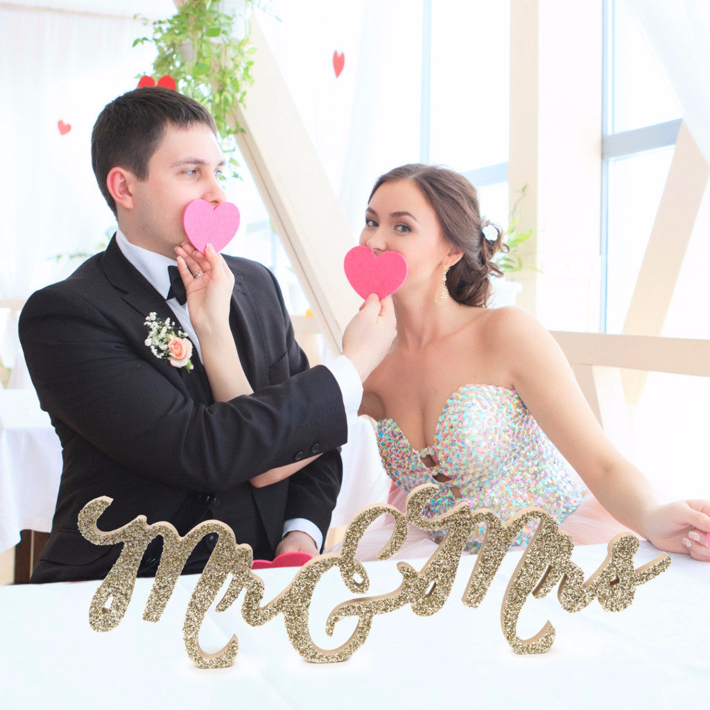 Connected Mr & Mrs Table Sign - Wedding Decor Gifts