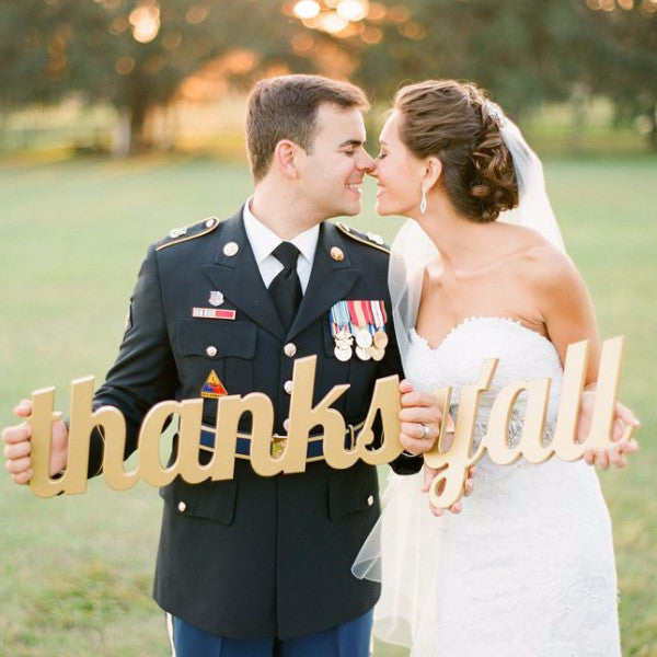 """Thanks Y'all"" Sign Wedding Photo Prop - Wedding and Gifts"