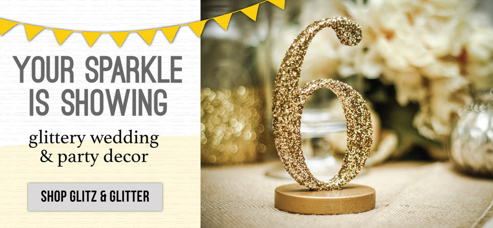 glitter wedding decor and table numbers