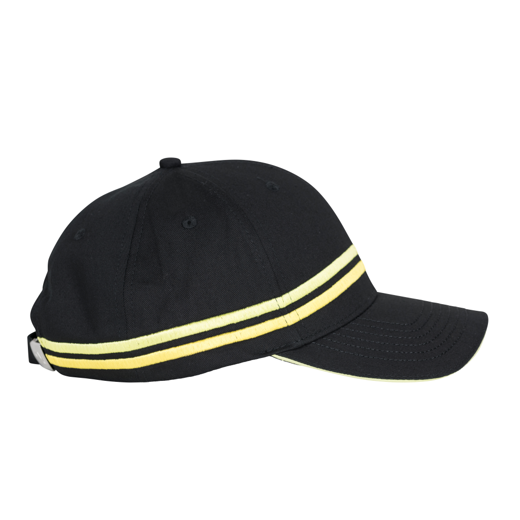RX Striped Embroidery Baseball Cap Black
