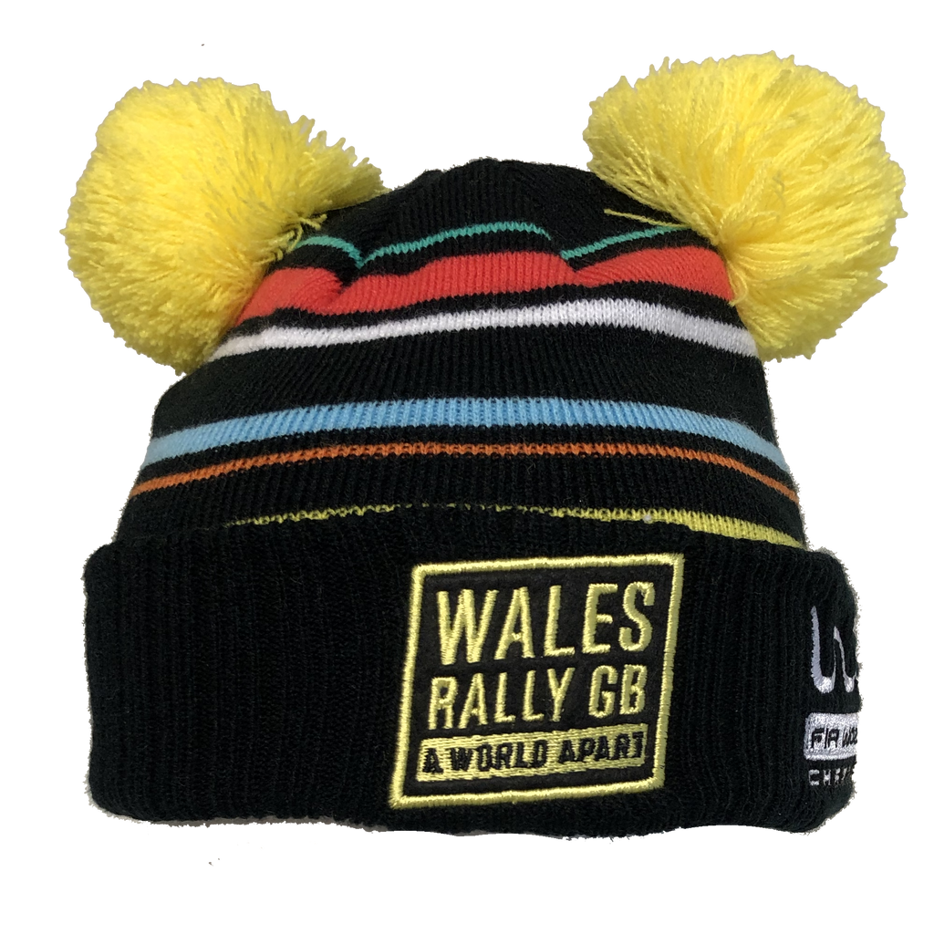 Wales Rally GB Kid's Striped Pom Beanie