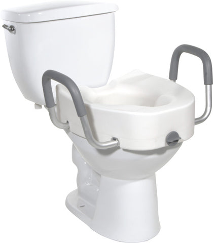 "Elevated Toilet Seat Elongated 5"", with Removable Arms"