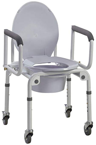 Commode with Drop Arms On Wheels