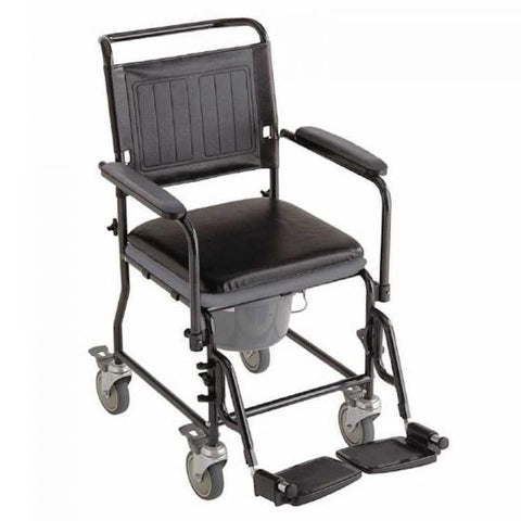 Commode Shower Chair with Locking Casters and Legrests