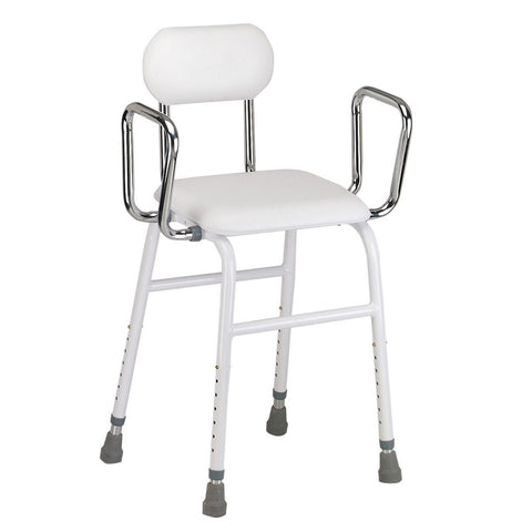 Perching Stool with Padded Seat & Back and Arms