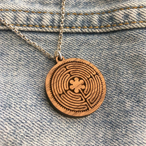New Harmony Chartes Labyrinth Wood Pendant on Silver