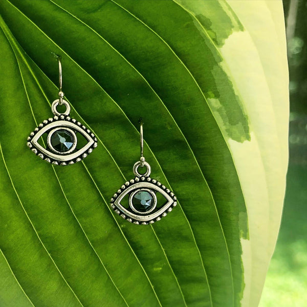 Swarvoski Evil Eye Earrings in Sterling Silver