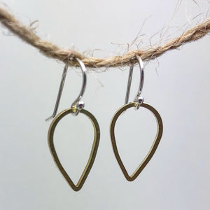Tiny Teardrop Minimalist Earrings Forged in Silver & Brass