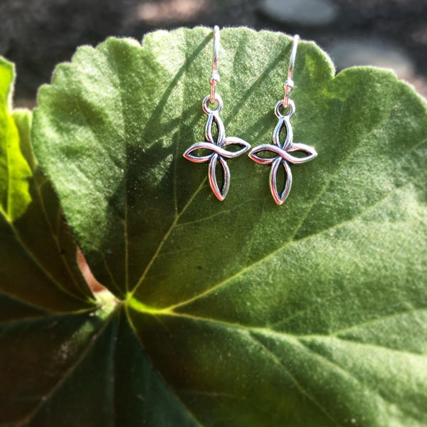 Infinity Cross Earrings in Solid Sterling Silver