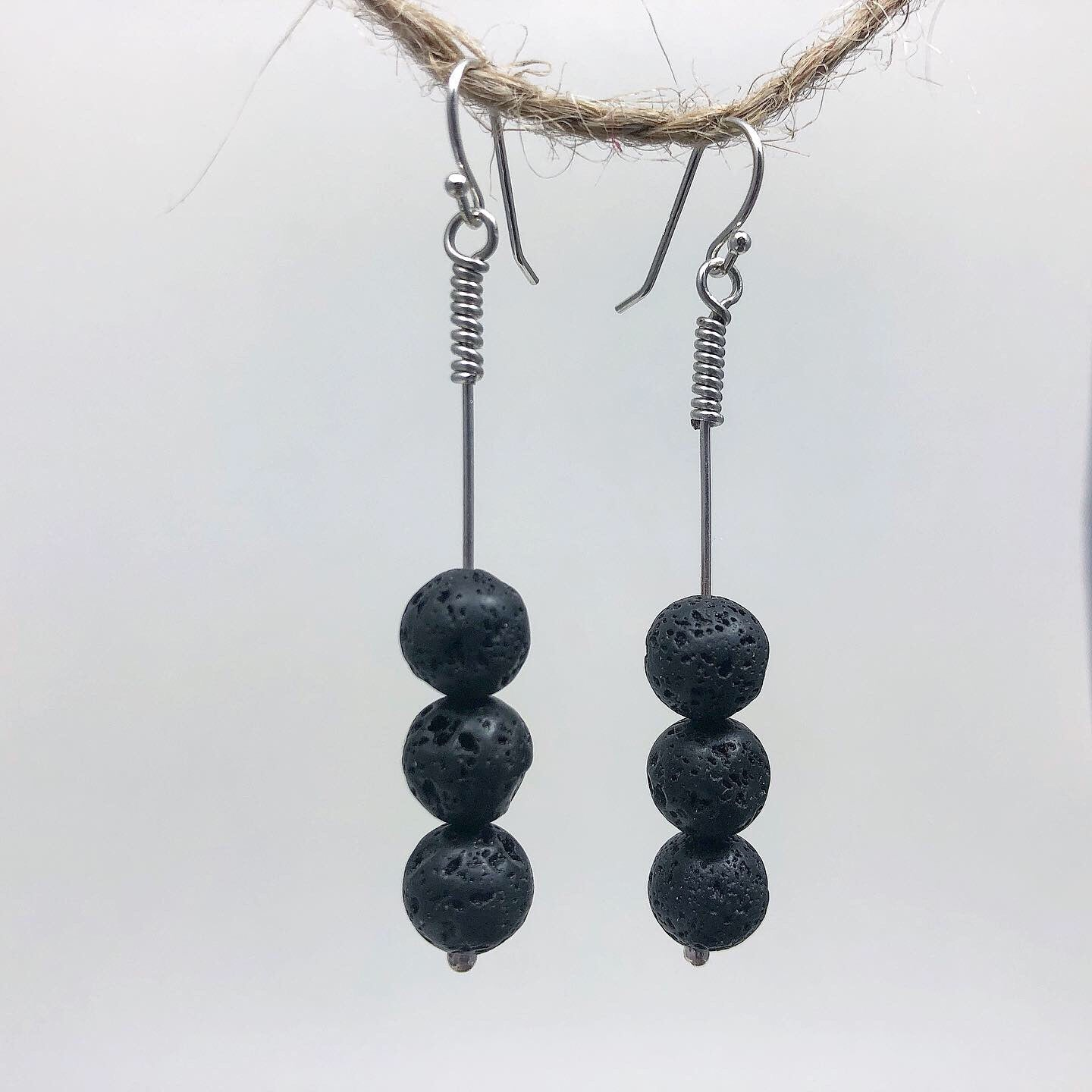 Lava Earrings for Essential Oils, 3 Bead Large