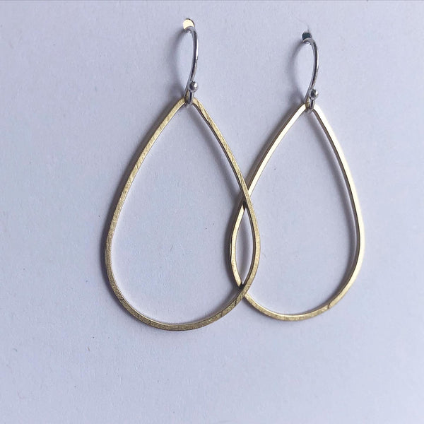 Large Teardrop Minimalist Earrings Forged in Silver & Brass
