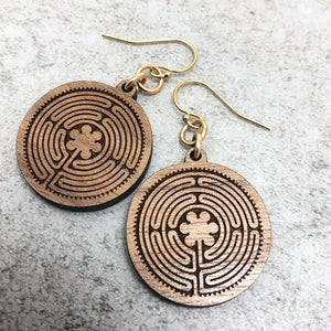 New Harmony Chartes Labyrinth Wood Earrings