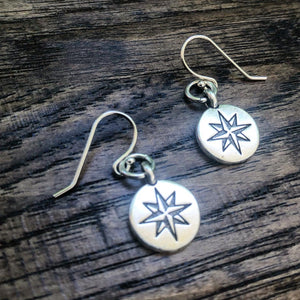 Compass Earrings in Sterling Silver