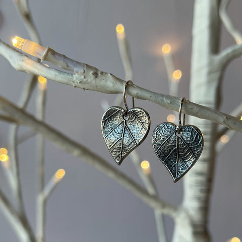 Leaf Earrings with Sterling Silver French Wires