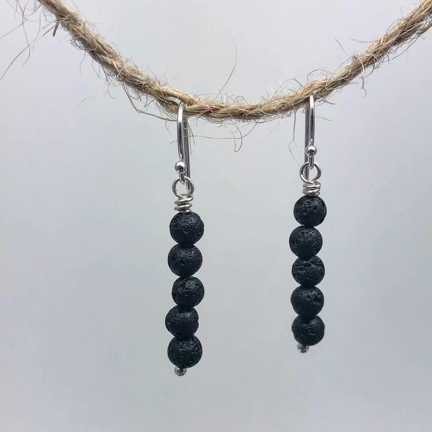 Lava Earrings for Essential Oils, 5 Bead Small