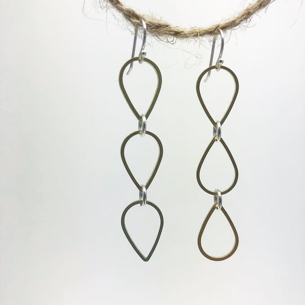 Triple Teardrop Minimalist Earrings Forged in Silver & Brass