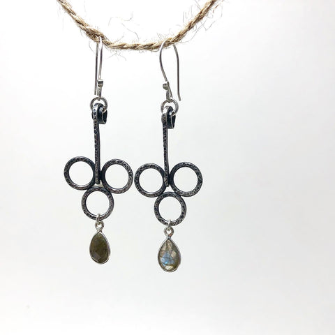 Balance X in Handcrafted Sterling Silver with Labadorite Dangles