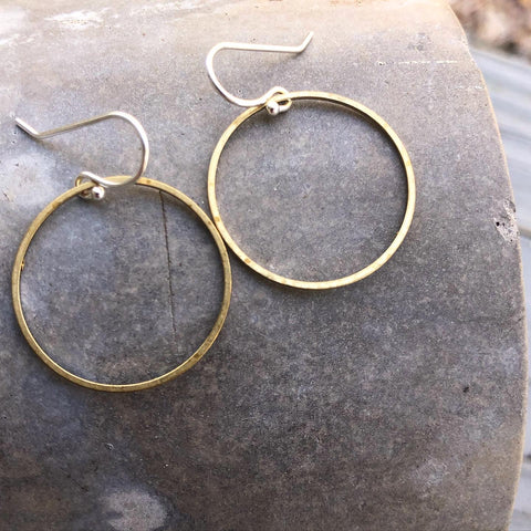 Small Circle Minimalist Earrings Forged in Silver & Brass