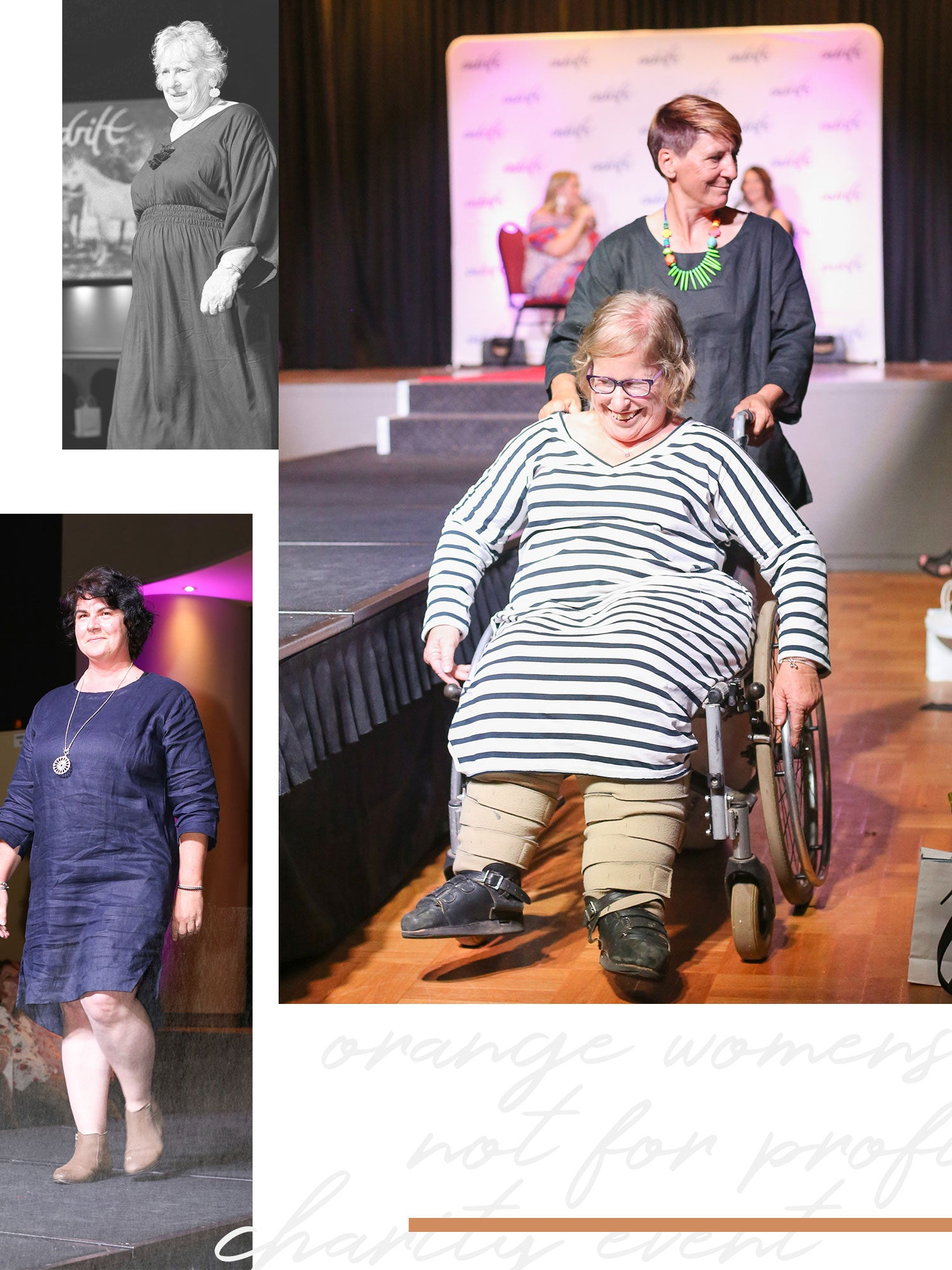 Women in wheelchair assisted by lady walking up and down the catwalk.