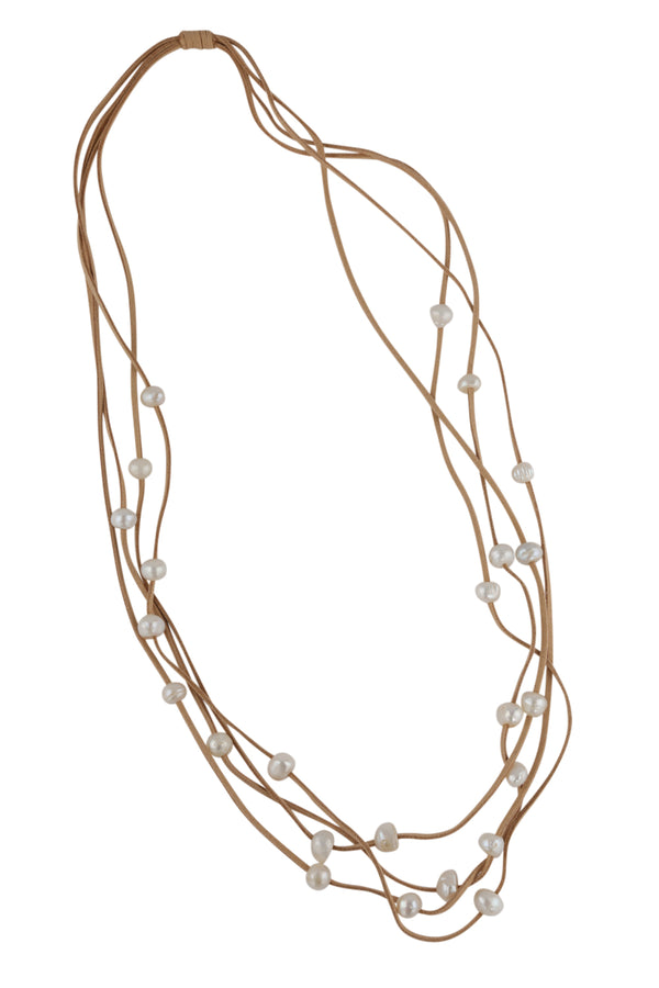 Sally Leather Pearl Necklace in Beige