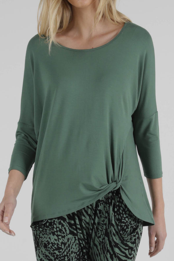 Betty Basics Atlanta 3/4 Sleeve Top in Sage